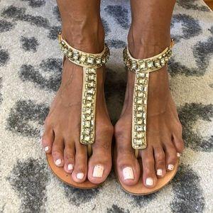 Giuseppe Zanotti crystal t strap sandals - Sz 40